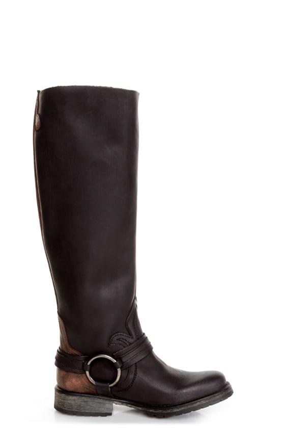 Steve Madden Judgemnt Black Leather Fleur-De-Lis Riding Boots at Lulus.com!