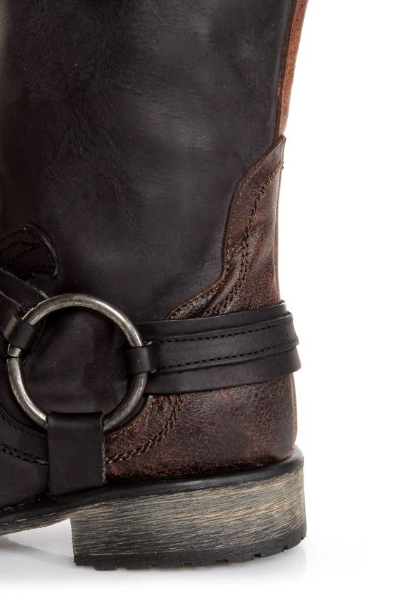 Steve Madden Judgemnt Black Leather Fleur-De-Lis Riding Boots