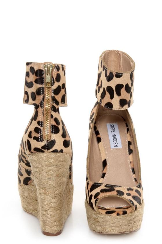 Steve Madden Kardd Leopard Pony Fur Espadrille Wedges at Lulus.com!