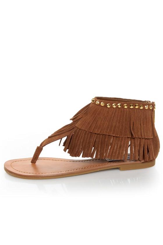 Steve Madden Klingee Cognac Suede Fringe Cuffed Thong Sandals