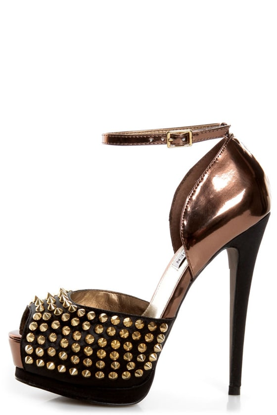 Steve Madden Obstcl-S Black and Bronze Studded Peep Toe Heels -  149.00 d1ac2c991cc0