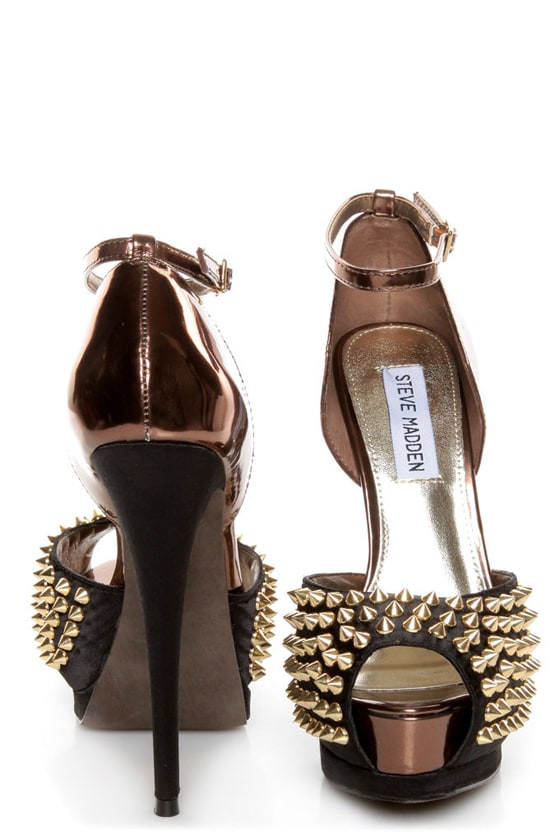 6f0a0cbadbd Steve Madden Obstcl-S Black and Bronze Studded Peep Toe Heels
