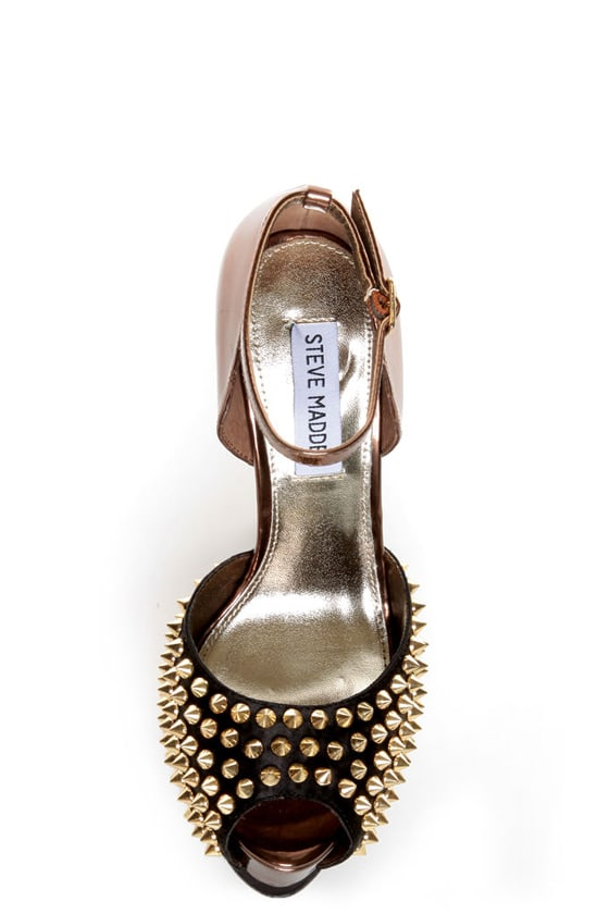 Steve Madden Obstcl-S Black and Bronze Studded Peep Toe Heels