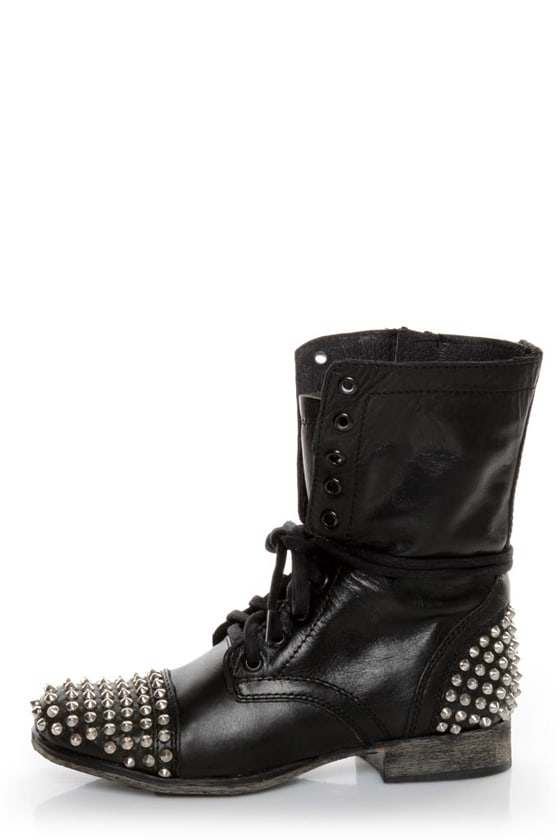 30f150871a2 Steve Madden Tarnney Grey Leather Studded Lace-Up Combat Boots -  149.00