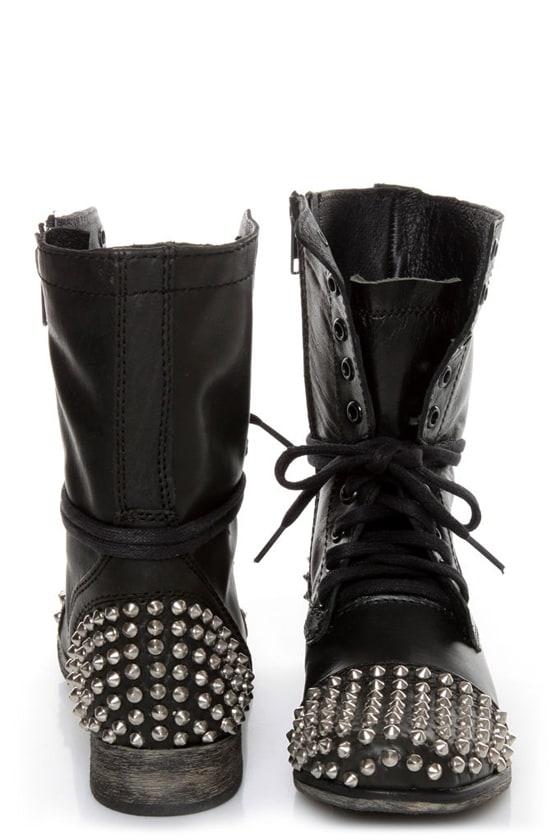 66522e80444 Steve Madden Tarnney Grey Leather Studded Lace-Up Combat Boots