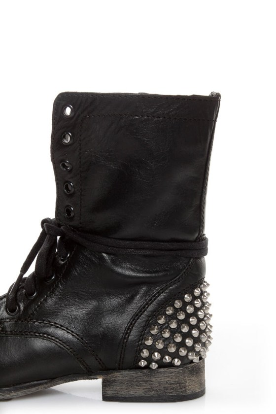 Steve Madden Tarnney Grey Leather Studded Lace-Up Combat Boots ...