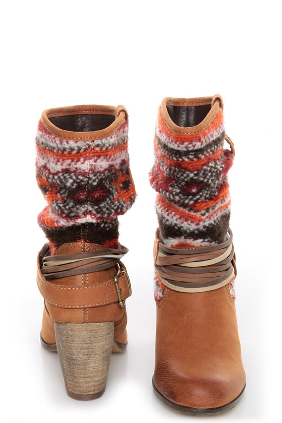 Steve Madden Tolteca Cognac Leather Southwest Mid-Calf Boots at Lulus.com!