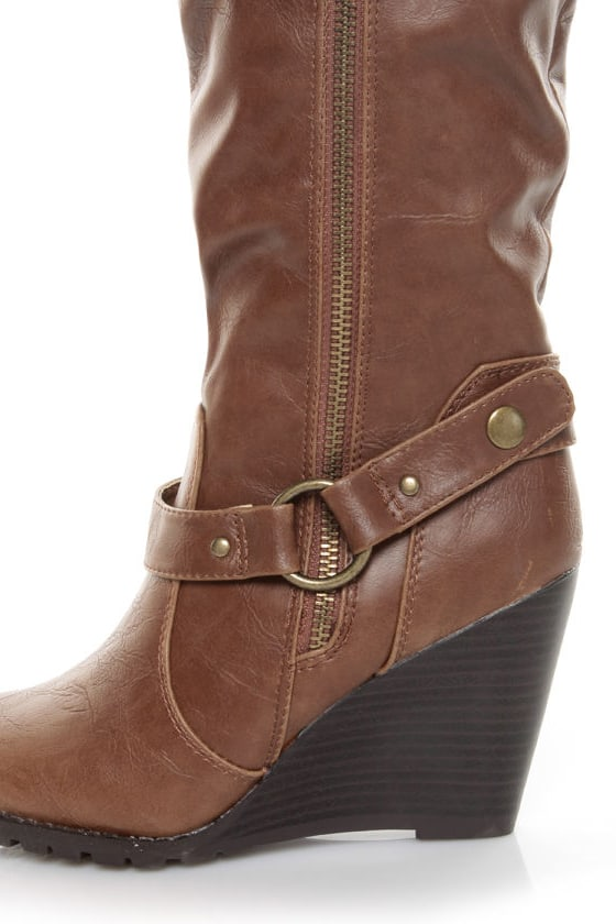 madden umpiree cognac slouchy wedge boots 79 00