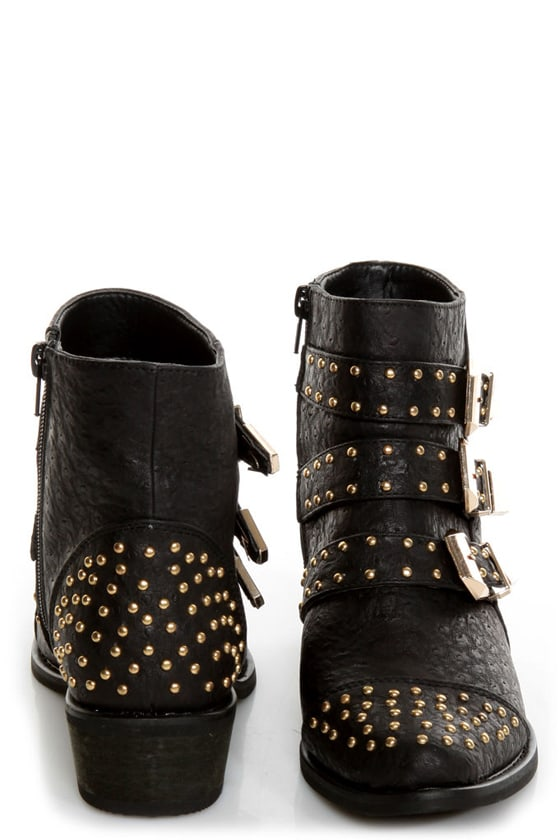 Shoe Republic LA Arly Black Ostrich Studded Ankle Boots at Lulus.com!