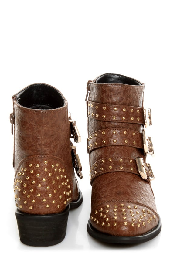 Shoe Republic LA Arly Brown Ostrich Studded Ankle Boots