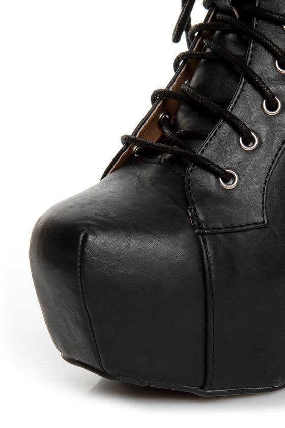 Shoe Republic LA Terza Black Spiked and Studded Lace-Up Booties
