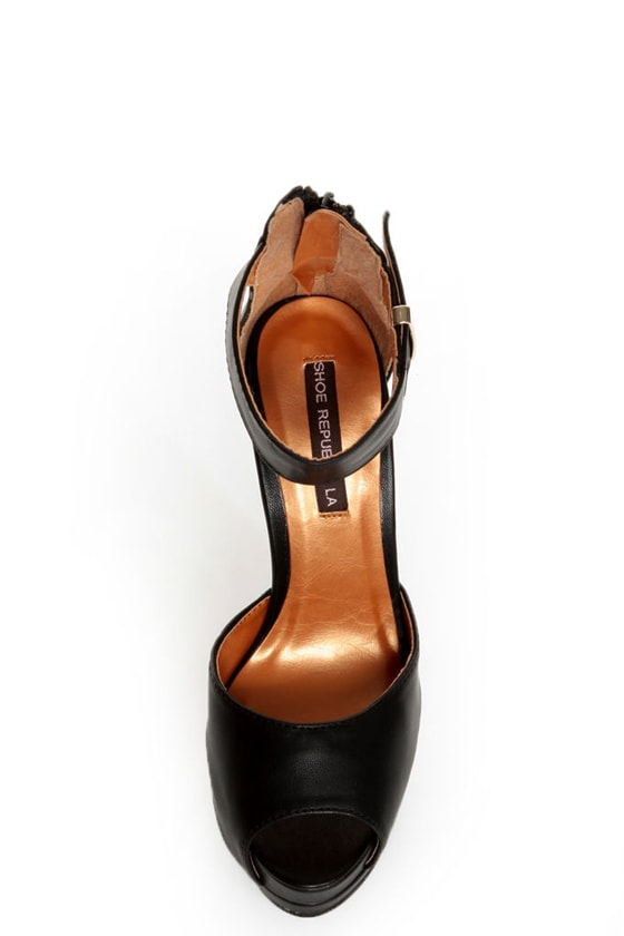 Shoe Republic LA Catarina Black Ankle Strap Platform Heels at Lulus.com!