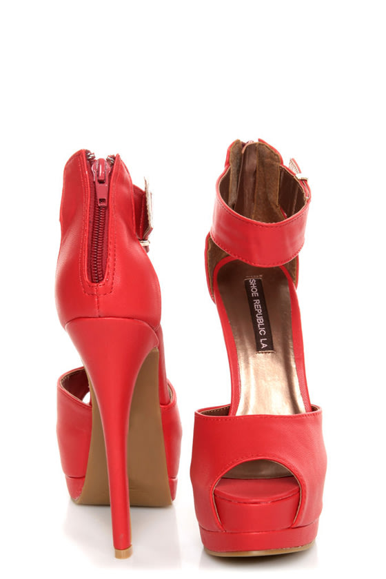 Shoe Republic LA Catarina Red Ankle Strap Platform Heels