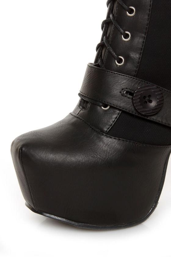 Shoe Republic LA Fiorina Black Belted Lace-Up Platform Boots