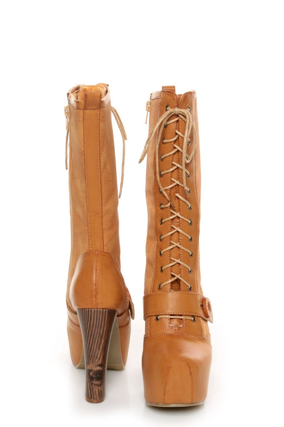 Shoe Republic LA Fiorina Mocha Belted Lace-Up Platform Boots