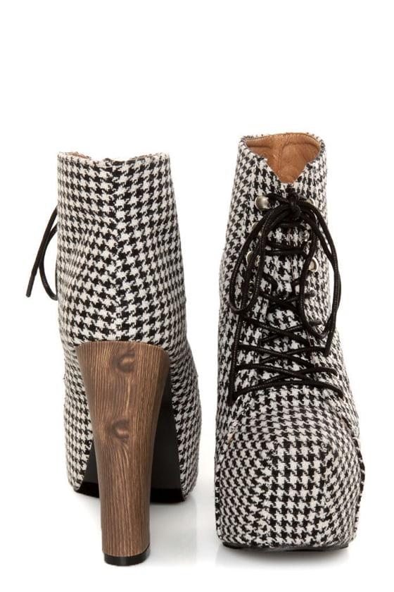 Shoe Republic LA Gardena Black Houndstooth Lace-Up Ankle Boots