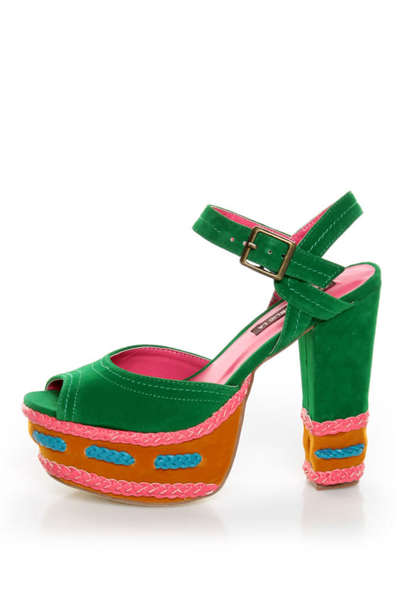 Shoe Republic LA Gothic Jade Green Braided Color Block Heels