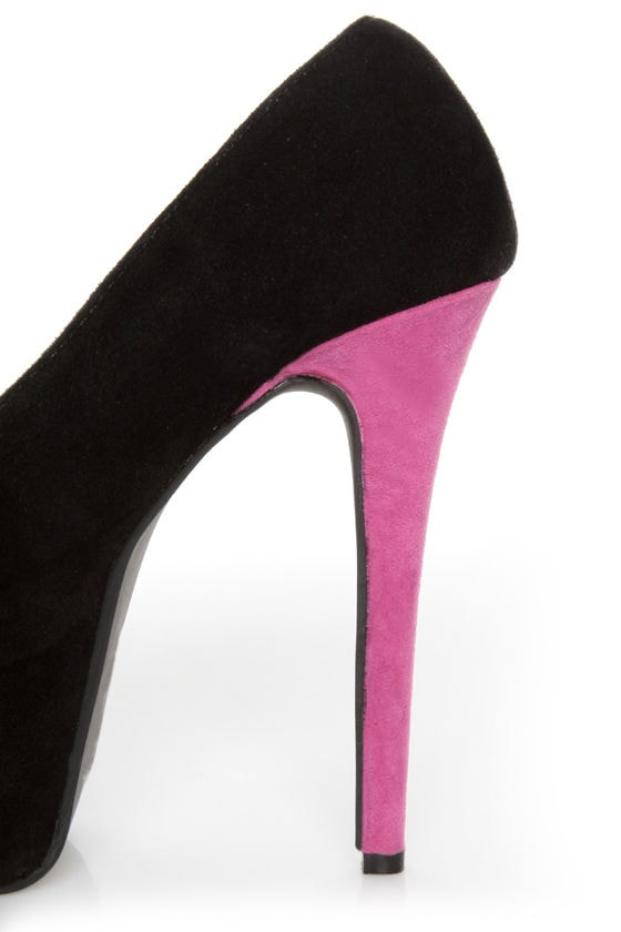 Shoe Republic LA Hoots Black and Pink Mega Platform Heels