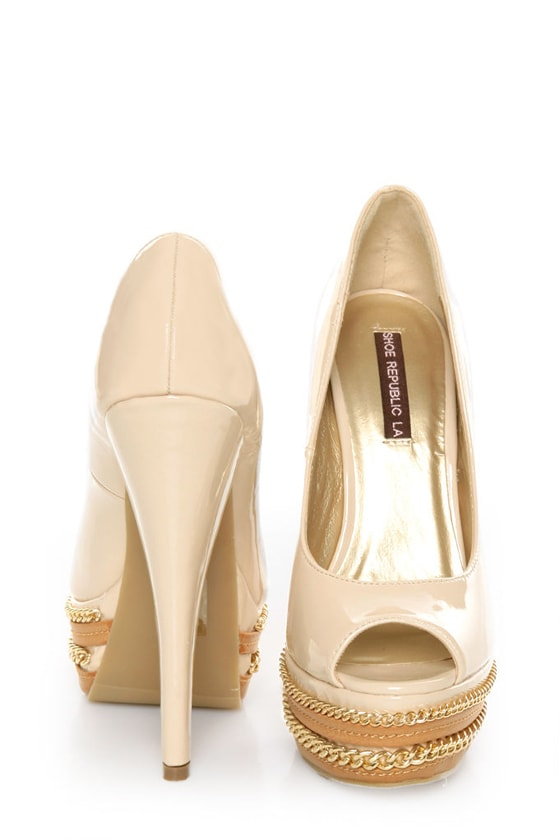 Shoe Republic LA Leisure Blush Patent Chained Platform Pumps at Lulus.com!