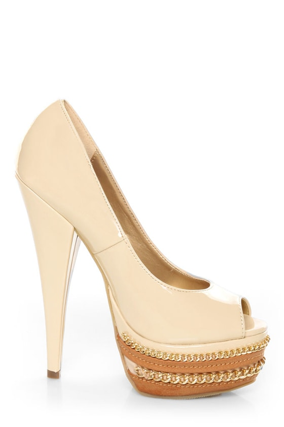 Shoe Republic LA Leisure Blush Patent Chained Platform Pumps