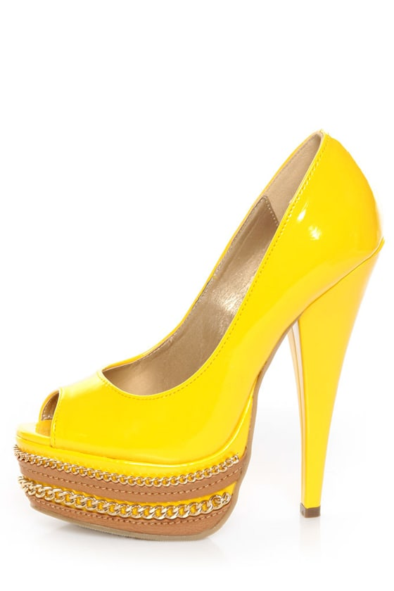 Shoe Republic LA Leisure Yellow Patent Chained Platform Pumps at Lulus.com!
