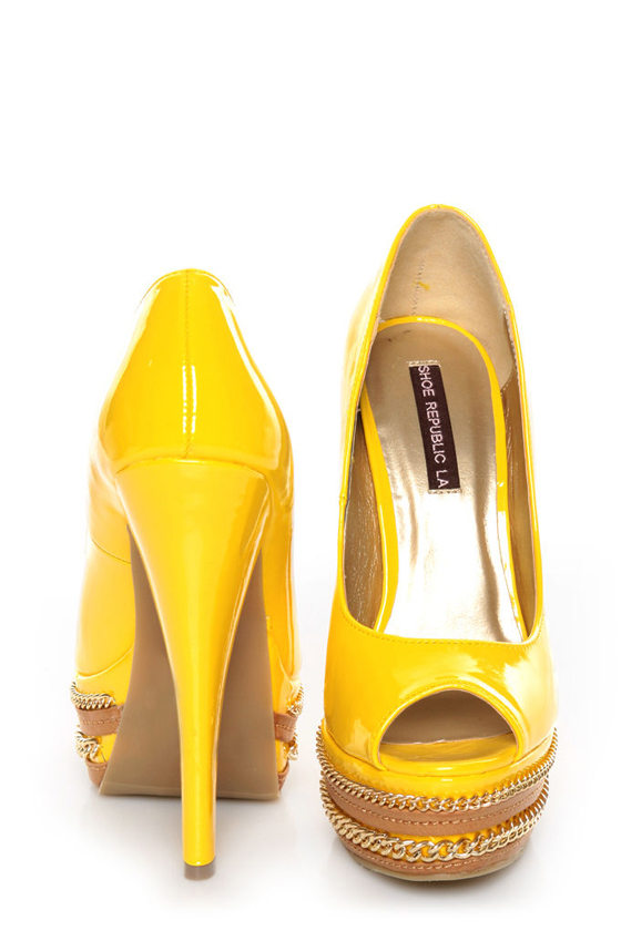 Shoe Republic LA Leisure Yellow Patent Chained Platform Pumps