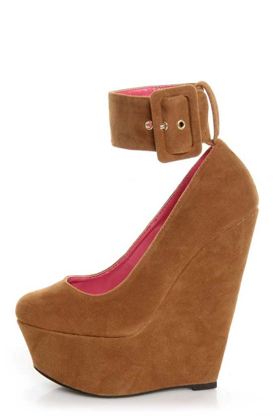 Shoe Republic LA Lynn Tan Ankle Strap Mega Platform Wedges