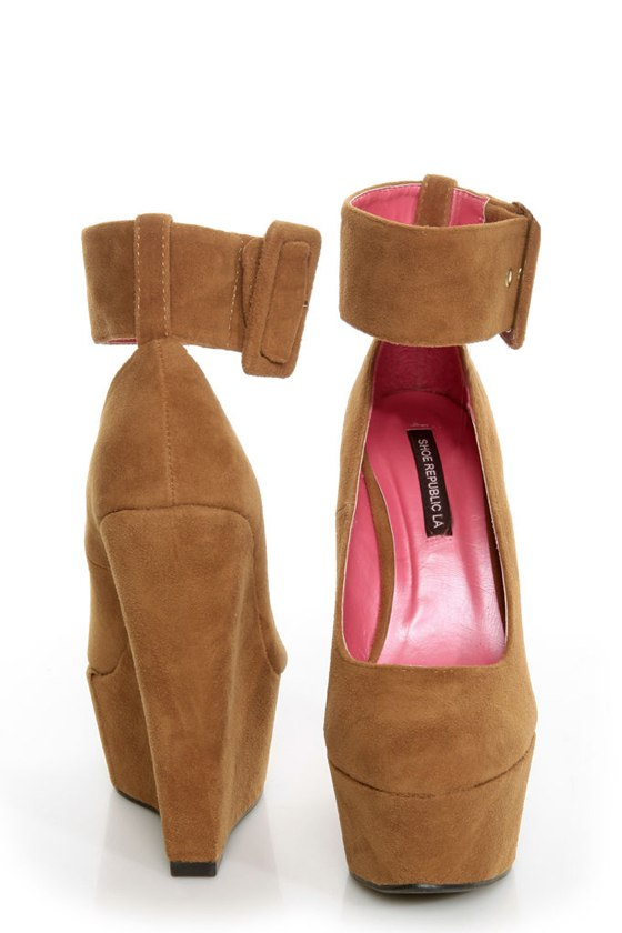 Shoe Republic LA Lynn Tan Ankle Strap Mega Platform Wedges