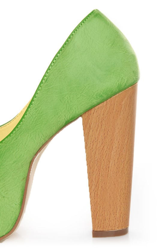 Shoe Republic LA Maple Apple Green Burnished Platform Heels