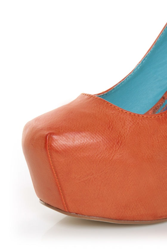 Shoe Republic LA Maple Orange Burnished Platform Heels