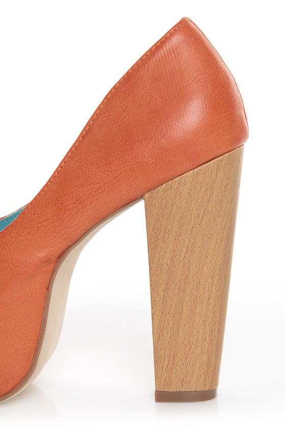 Shoe Republic LA Maple Orange Burnished Platform Heels