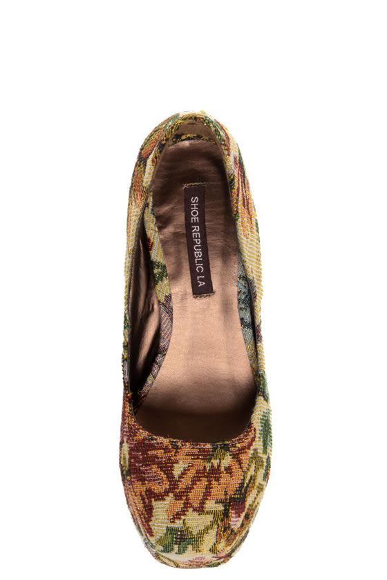 Shoe Republic LA Media Gold Floral Tapestry Platform Heels
