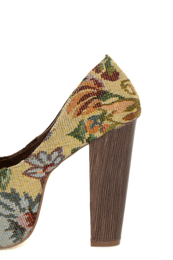 Shoe Republic LA Media Gold Floral Tapestry Platform Heels at Lulus.com!