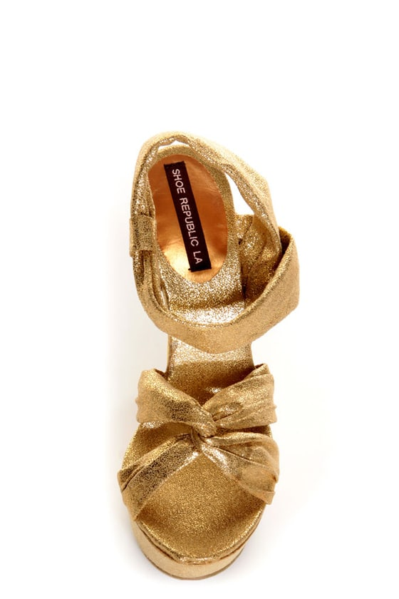 Shoe Republic LA Novela Gold Platform Heels