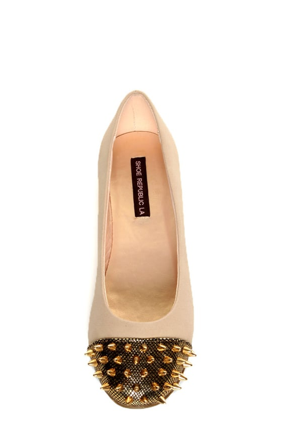 Shoe Republic LA Scion Nude Spiked Cap-Toe Flats at Lulus.com!
