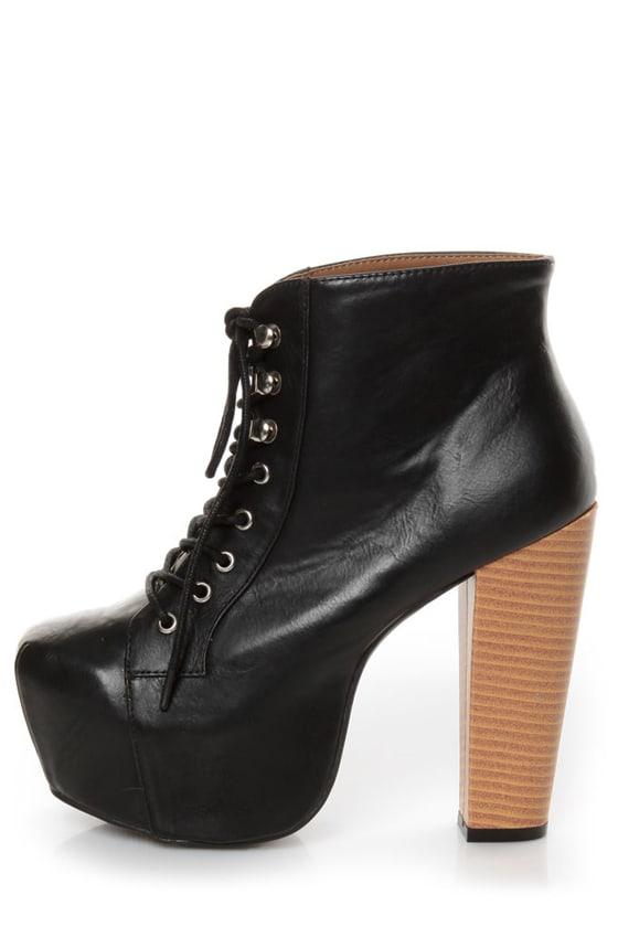 Shoe Republic LA Step Black Lace-Up Platform Ankle Boots