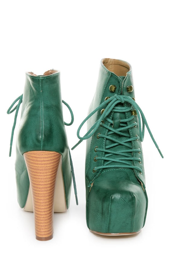 Shoe Republic LA Step Green Lace-Up Platform Ankle Boots