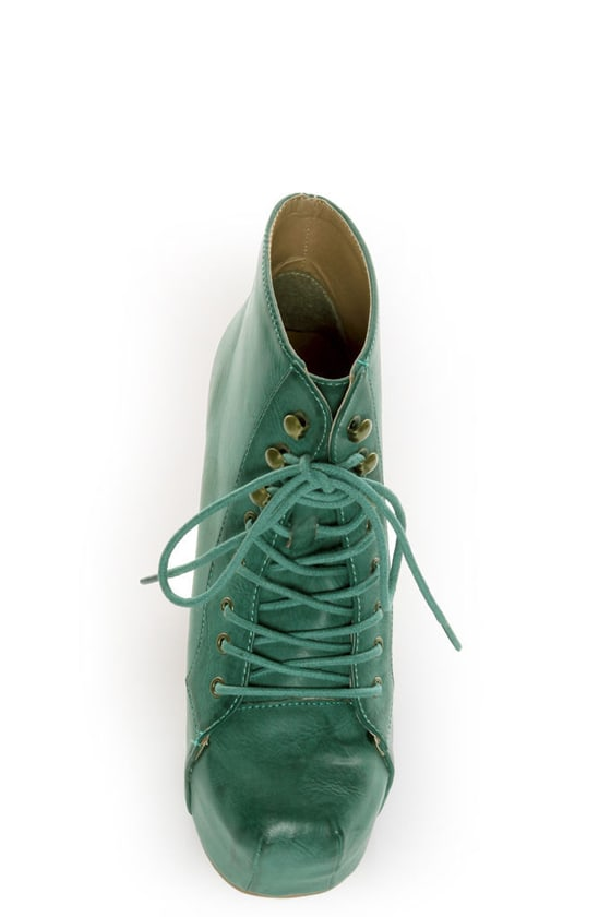 Shoe Republic LA Step Green Lace-Up Platform Ankle Boots at Lulus.com!