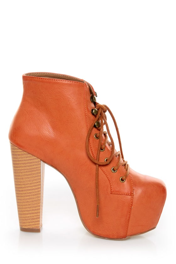Shoe Republic LA Step Orange Lace-Up Platform Ankle Boots at Lulus.com!