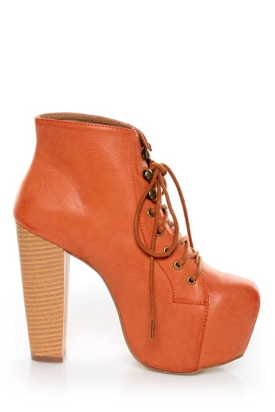 Shoe Republic LA Step Orange Lace-Up Platform Ankle Boots