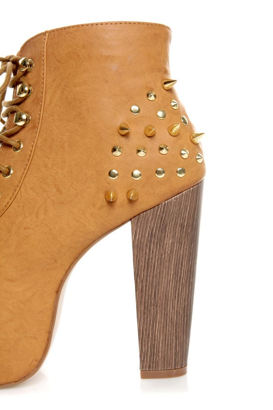 Shoe Republic LA Terza Tan Spiked and Studded Lace-Up Booties at Lulus.com!