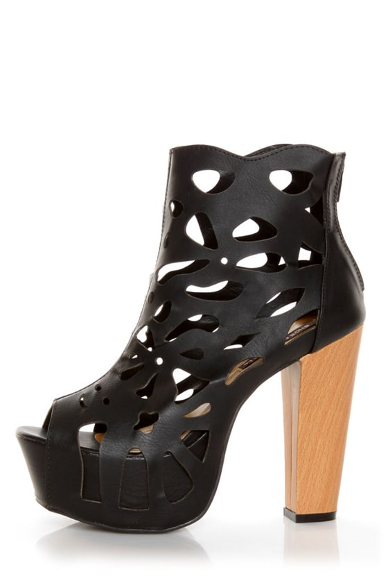 Shoe Republic LA Versa Black Laser Cutout Platform Booties
