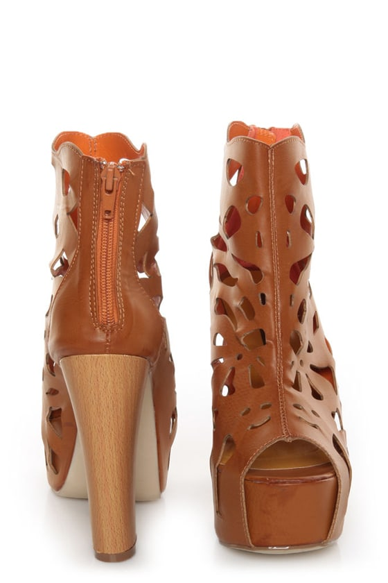 Shoe Republic LA Versa Tan Laser Cutout Platform Booties