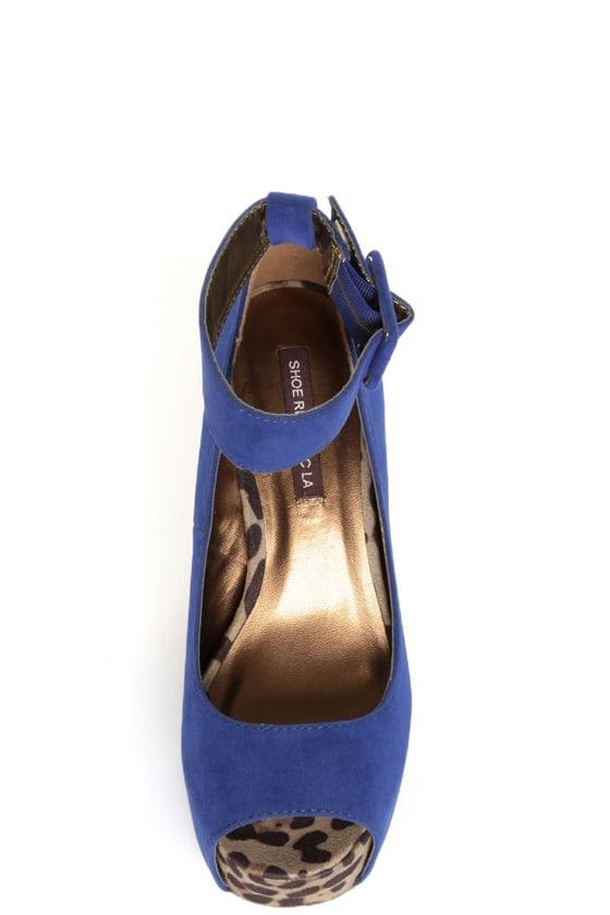 Shoe Republic LA Vicenza Blue and Leopard Platform Heels