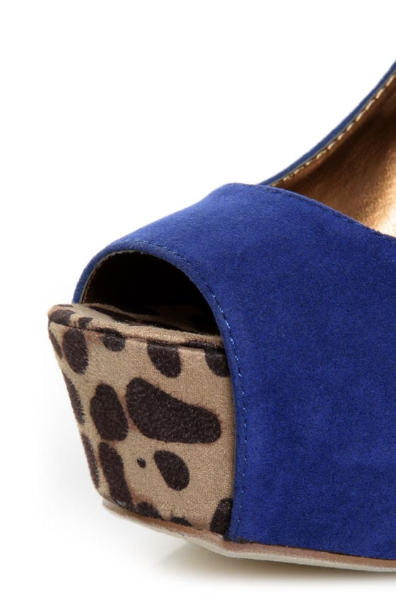 Shoe Republic LA Vicenza Blue and Leopard Platform Heels