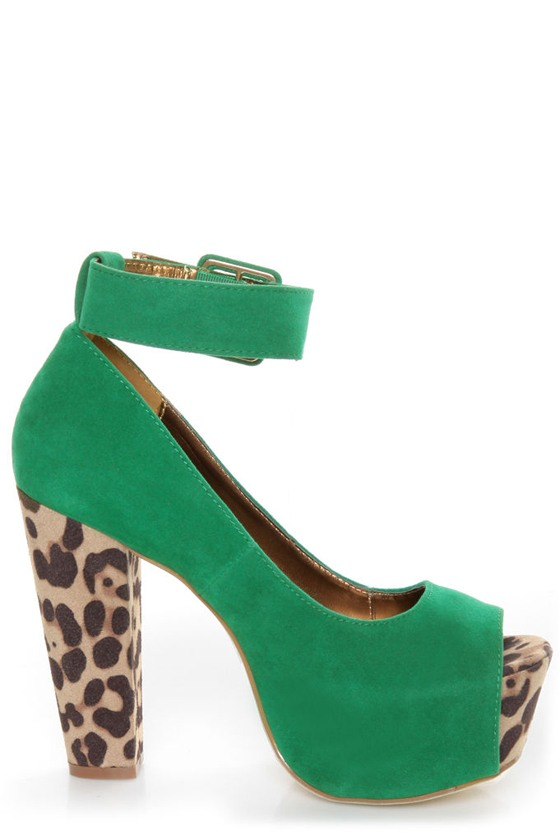 Shoe Republic LA Vicenza Green and Leopard Platform Heels - $48.00