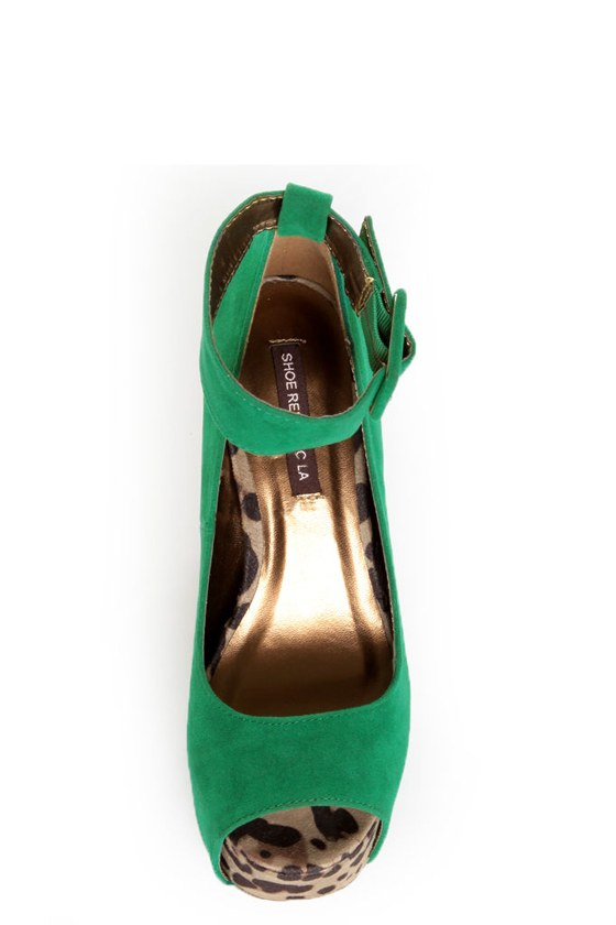 Shoe Republic LA Vicenza Green and Leopard Platform Heels at Lulus.com!