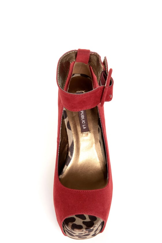 Shoe Republic LA Vicenza Wine Red and Leopard Platform Heels