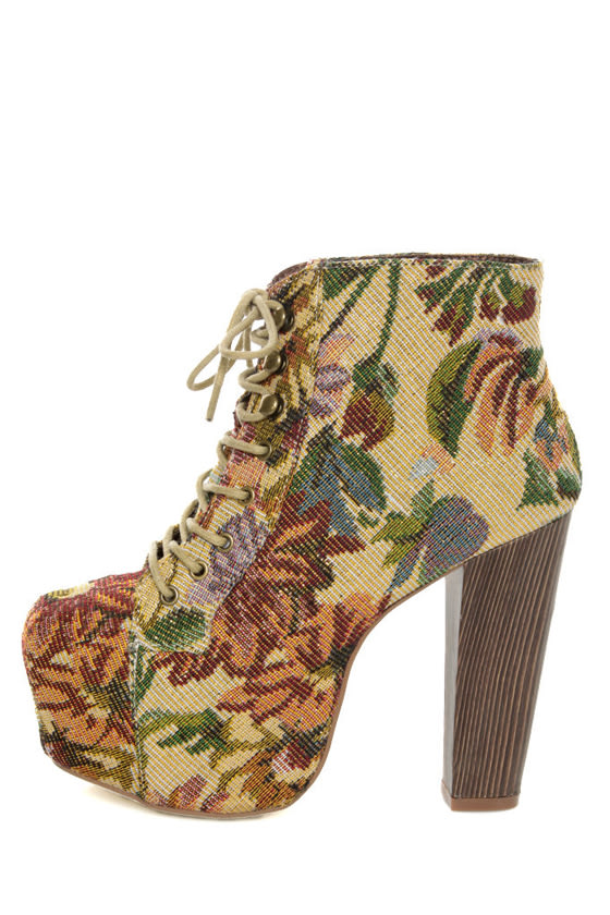 Shoe Republic LA Visalia Gold Floral Tapestry Platform Booties