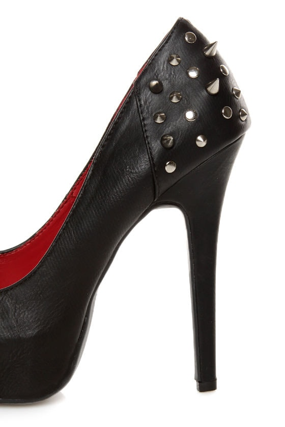 Shoe Republic LA Volta Black Spiked and Studded Platform Pumps at Lulus.com!